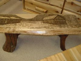 Wood burned old house table by eveningdawn