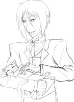 Sebby Likes Kitties--uncolored by estychan