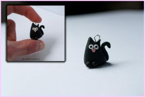 Polymer Clay - Black Cat by Jane-Rt