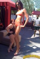 Tall woman at pool bbq by lowerrider
