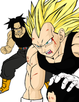 SSJ3 Vegeta and Evil Trunks by darkhawk5
