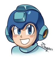 Mega Man headshot by RyanJampole