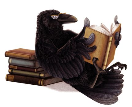 Raven Reads in Repose by brightredrose