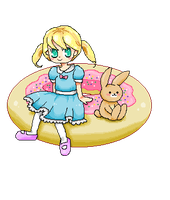 sitting on a donut by Mecil