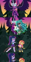 Gaea Everfree Attacks Sci Twi and Sunset Shimmer by DashieMLPFiM