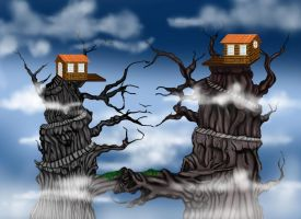 Digital painting of Tree house by aabesthegreat