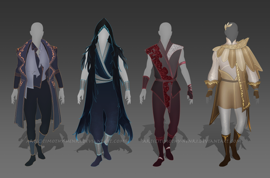 (CLOSED) - Male Outfit Adoptable Set #004 by Timothy-Henri