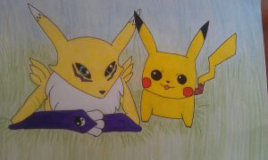 Rena and Pika Coloured by Kasine