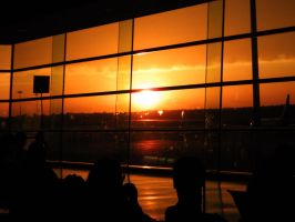 Sunset at the Airport by Lu-Xin