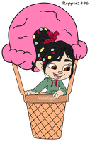 Vanellope on a Ice-Cream Balloon by Rapper1996
