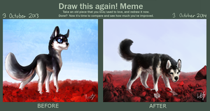 Draw This Again - Husky and Red Flowers by Late-S