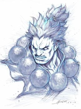 Akuma Bust Sketch by alvinlee