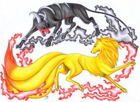 Houndoom vs. Ninetales by Chirokee