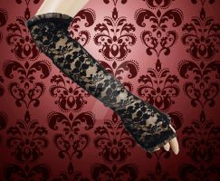 Floral Lace Gloves by SusanaDS-Stocks