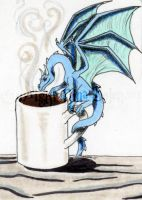 Dragon with coffee ACEO by The-GoblinQueen