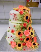Rudbechias and roses cake by buttercreamfantasies