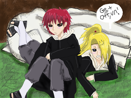 Sasori falling on Deidara by IdenCat