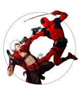 Dante vs Deadpool by wogeic