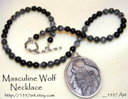 Masculine Wolf Necklace by 1337-Art