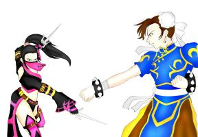 Mileena vs Chun li by Sparvely