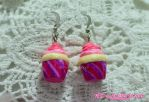Pink Fluffy and Kawaii Cupcake Earrings by kimistarrphotography
