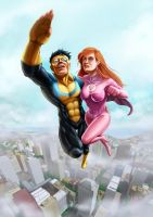 Invincible and Atom-Eve by Choppic