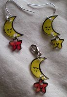 Kawaii Moon and star earrings by Lovelyruthie