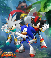 Sonic Boom Sonic, Shadow, Silver and Eggman WP by Silverdahedgehog06