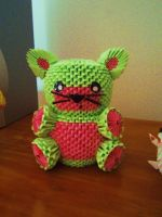 3D Origami Watermelon Cat by OneLoneTree
