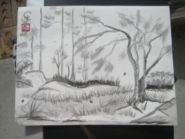 sumi-e lovers tree by Iolii