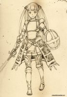 Female knight Pencil sketch by cakeroll
