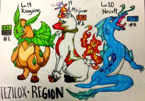 Fakemon: Tezilox Region Starters 1st Evolution by The-Universe-of-Nya