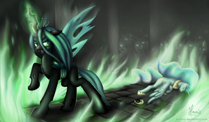 Chrysalis vs. Celestia V2 by hirurux