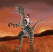 Kitty On A Velociraptor by E-Dwayne-Caldwell