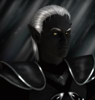 Alakthar - Portrait of a Drow by Tigertatze
