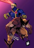 Wolverine and Cyclop by Rexbegonia