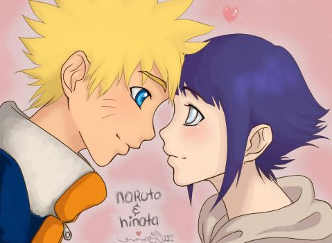 Naruto and Hinata, hullo love by bommie