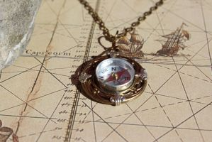 Compass Necklace Real Working steampunk design by artistiquejewelry