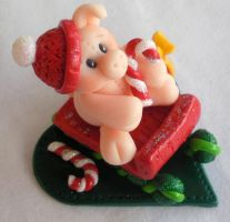 Pig On A Sleigh by HeartshapedCreations