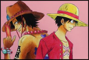 Ace and Luffy by Pademo