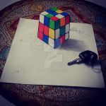 3d drawing cube by eliantART