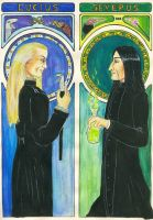 Snape and Malfoy - Mucha style by vimessy