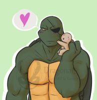 tmnt Papa Raph and Spike by Dragona15