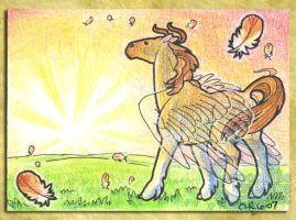 ACEO-ATC: Dawn Horse by crocodiledreams