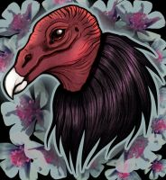 Vulture with Flowers by black-brd