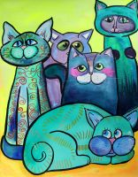 Colorful Cats in Portrait 2 by jempavia