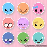kawaii button set by LadyMascara