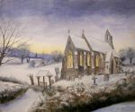 Winter Scene with Church by dashinvaine