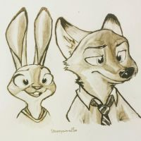 Nick and Judy by Steampoweredfoxes