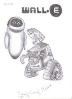 Wall.e and Eve Sketch by supersonicartdrawer